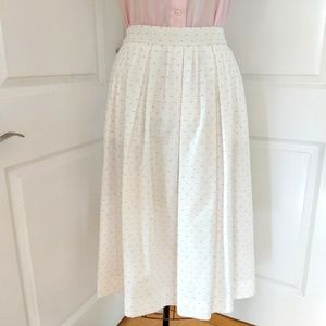 J. Crew Ivory Full Skirt with Pink Clip Dots